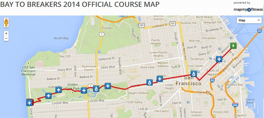 Bay To Breakers Map Bay to Breakers 2014 official course map from oceanbeachbulletin  Bay To Breakers Map
